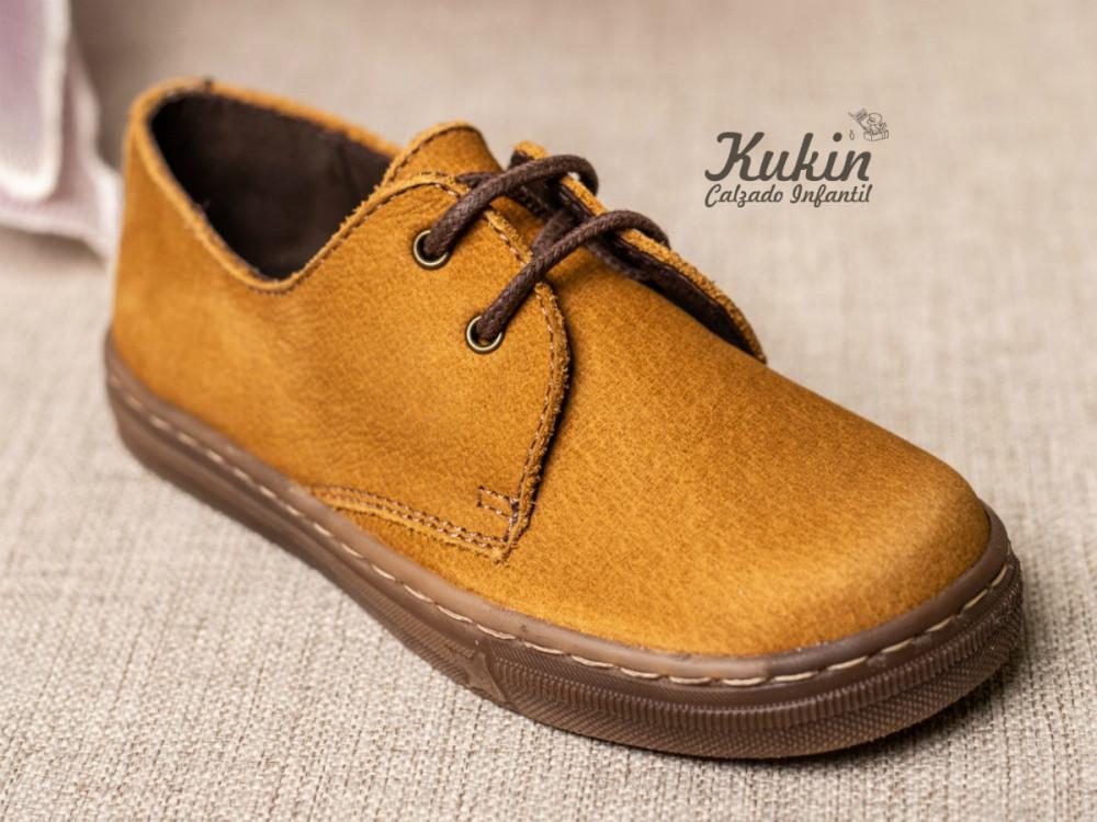 Para estrenar 07093 3ce3b Zapatos niño piel ocre
